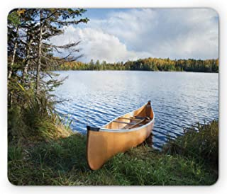 Ambesonne USA Mouse Pad, Canoe on The Shore of a Northern Minnesota Lake During Autumn Relaxation Vacation Time, Rectangle...
