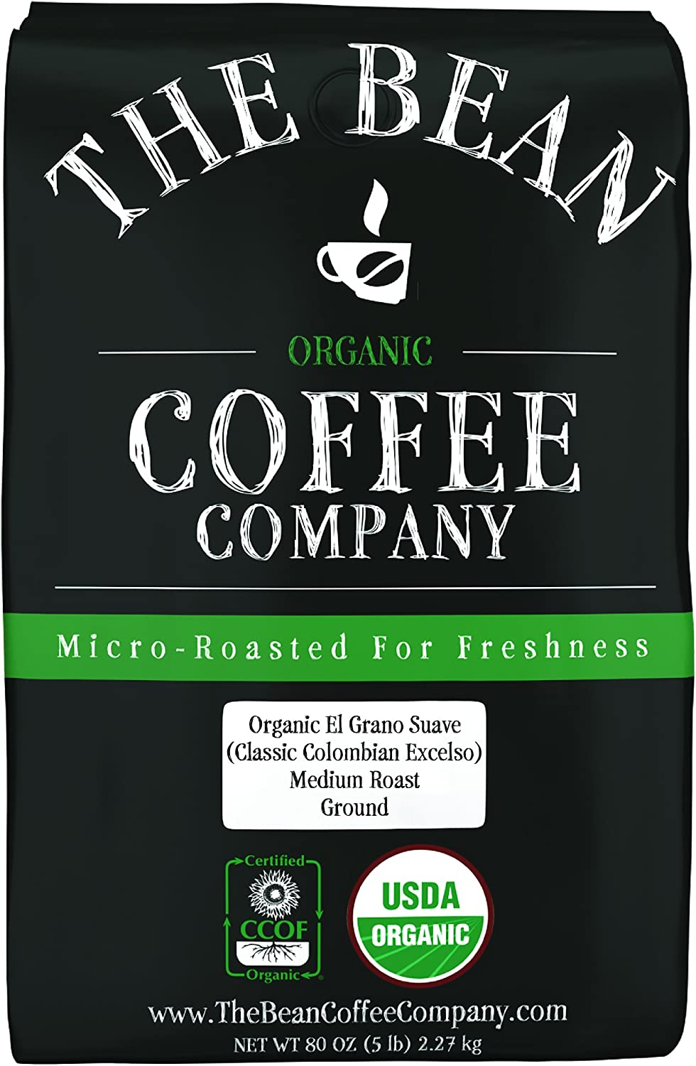 The Bean Coffee Company Organic El Grano Suave (Classic Colombian Excelso), Medium Roast, Ground, 5-Pound Bag