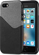 TENDLIN iPhone SE Case Good Protection Leather Fabric Design Good Grip Shockproof Case for iPhone SE and iPhone 5S / 5 (Gray & Black)