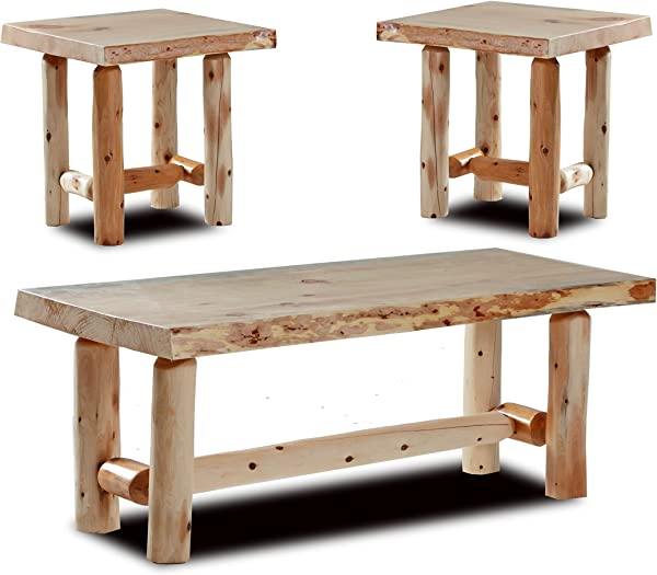 Rustic Log Coffee And End Table Set Pine And Cedar Natural Clear