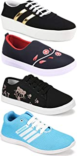 WORLD WEAR FOOTWEAR Women's (9041-5052-5053-1044) Multicolor Casual Sports Running Shoes (Set of 4 Pair)