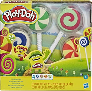 Play-Doh Lollipop 4-Pack of Pretend Play Candy Molds filled with 3 Ounces of Non-Toxic Play-Doh Modeling Compound for Kids...