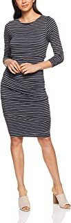 French Connection Women's Body Con Stripe Dress, Nocturnal/Grey Marle