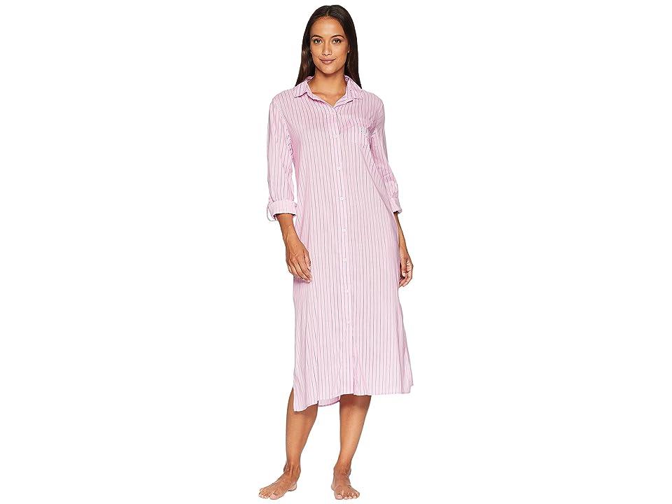 LAUREN Ralph Lauren Long Sleeve Roll Cuff Ballet Sleepshirt (Pink Stripe) Women