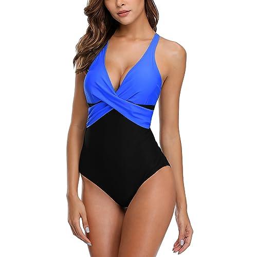 800ff51882f Charmo Womens Retro Slimming One Piece Swimming Costume Tummy Control  Swimsuits