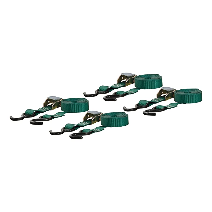 CURT 83016 1-Inch x 16-Foot Dark Green Nylon Cam Buckle Cargo Straps with S Hooks, 900 lbs. Break Strength, Pack of 4