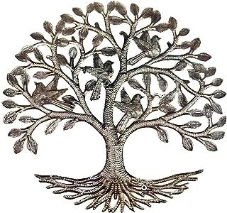 It's Cactus Haitian Metal Drum Art, 23 Inches Round, Tree of Life with Birds, Handmade, Indoor and Outdoor Display