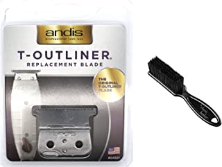Andis T-Outliner Replacement Beard/Hair Trimmer Blade, Silver (04521) with The Classic Barber Blade Brush