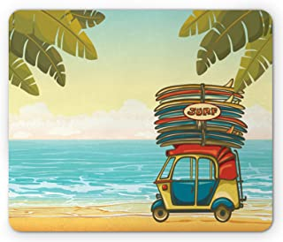 Lunarable Beach Mouse Pad, Auto Rickshaw Tuk-Tuk Carrying Colorful Surfboards on Tropical Coast with Palm Trees, Standard Size Rectangle Non-Slip Rubber Mousepad, Multicolor