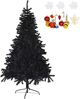 LUCKYERMORE Black Christmas Tree 7 Feet Halloween Tree Artificial Pine Tree Holiday Decoration with Xmas Tree Ornaments w/ 1000 Branch Tips