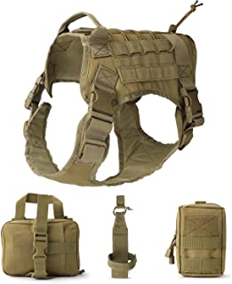 JASGOOD Tactical Dog Vest Military Harness with Detachable Molle Pouches Outdoor Training Handle Service Dog Vest