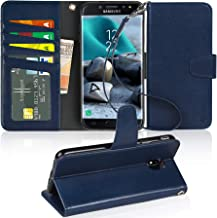 Arae Case Compatible for Samsung Galaxy J7 2018/Galaxy J7 Aero/J7 Aura/J7 Top/J7 Refine/J7 Eon/J7 Star, [Stand Feature] PU Leather Wallet with Wrist Strap and [4-Slots] ID&Credit Cards Pockets (Blue)