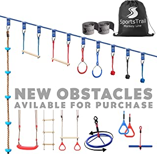 Ninja Warrior Obstacle Course for Kids 42` Slackline Kit, Jungle Gym Monkey Bars Kit for Kids and Adults + Climbing Rope, Warrior Training Equipment, Trapeze Swing, Gymnastic Bar, Rope Ladder, Wheel