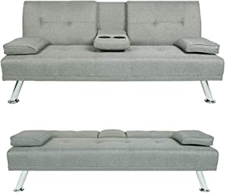 "HWT Modern 66"" Futon Loveseat Sofa Bed Convertible Fabric..."