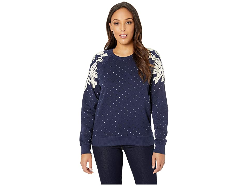 Lucky Brand Polka Dot Chenille Sweatshirt (American Navy) Women c936117fc