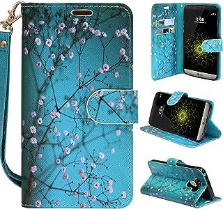 LG G6 Case, LG G6 Wallet Case,Customerfirst PU Leather Magnetic Flip Design Wallet Case for LG G6 + emoji keychain (Blossom Teal)