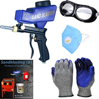 Portable Sandblaster Gun & Soda Blaster: Handheld, Gravity-Feed Abrasive Blaster with Gloves, Goggles, Nozzle (SUPER-FUNNELING TECHNOLOGY)