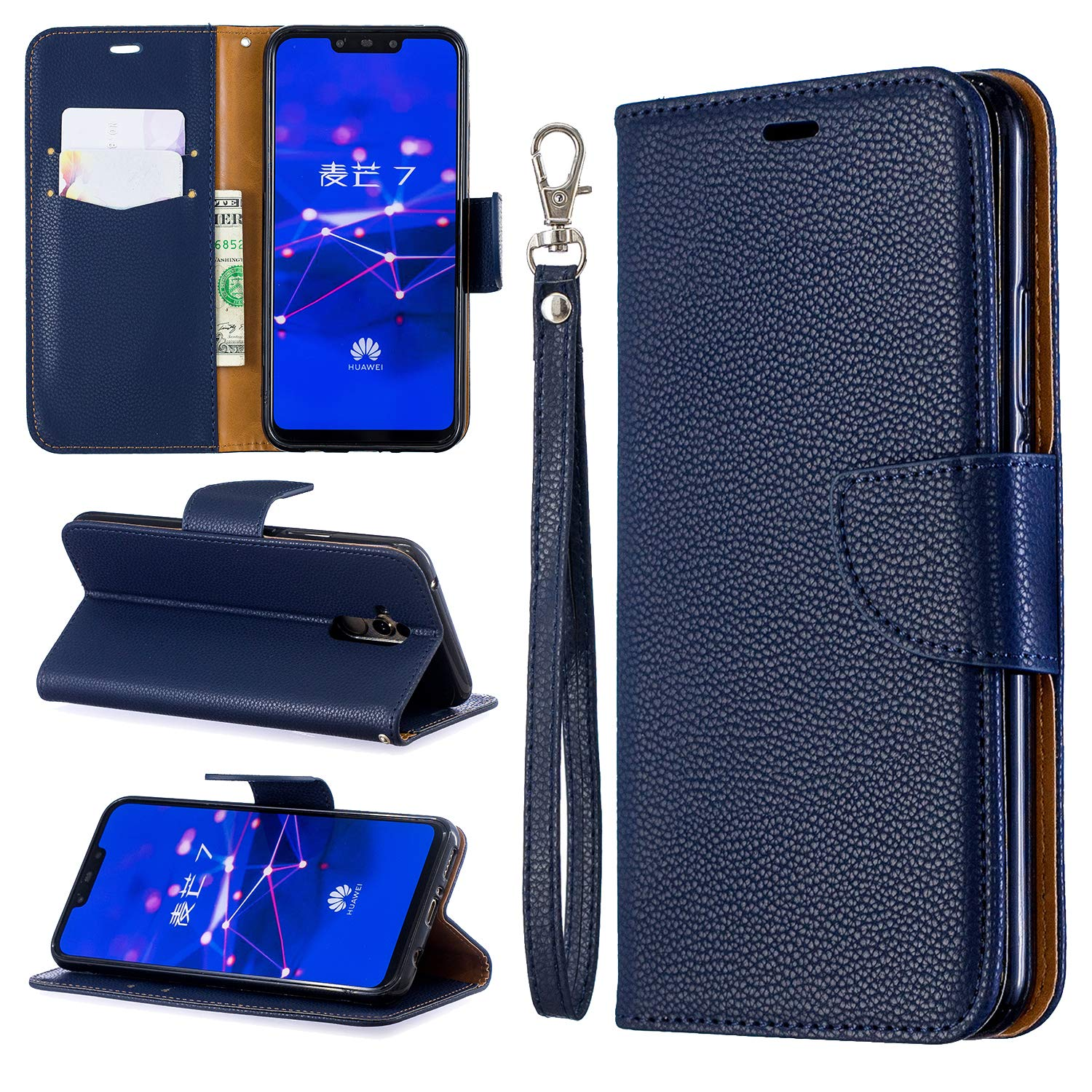 Jinghuash Premium Leather Case Compatible with Huawei Mate 20 Lite,Leather Wallet Case with Viewing Stand and Card Slots,Stand Case for Huawei Mate 20 Lite,Wireless Charging Support-tiger