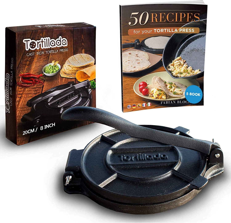 Tortillada   Premium Tortillapresse aus Gusseisen mit Rezepten 10cm inkl.  E Book mit 10 Tortilla Rezepten