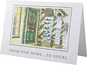 Traditional Christmas Cards - Christian Values - 24 Premium Cards and White Envelopes - Snowy Christmas Wreath - Family Christmas Cards - Made in the USA