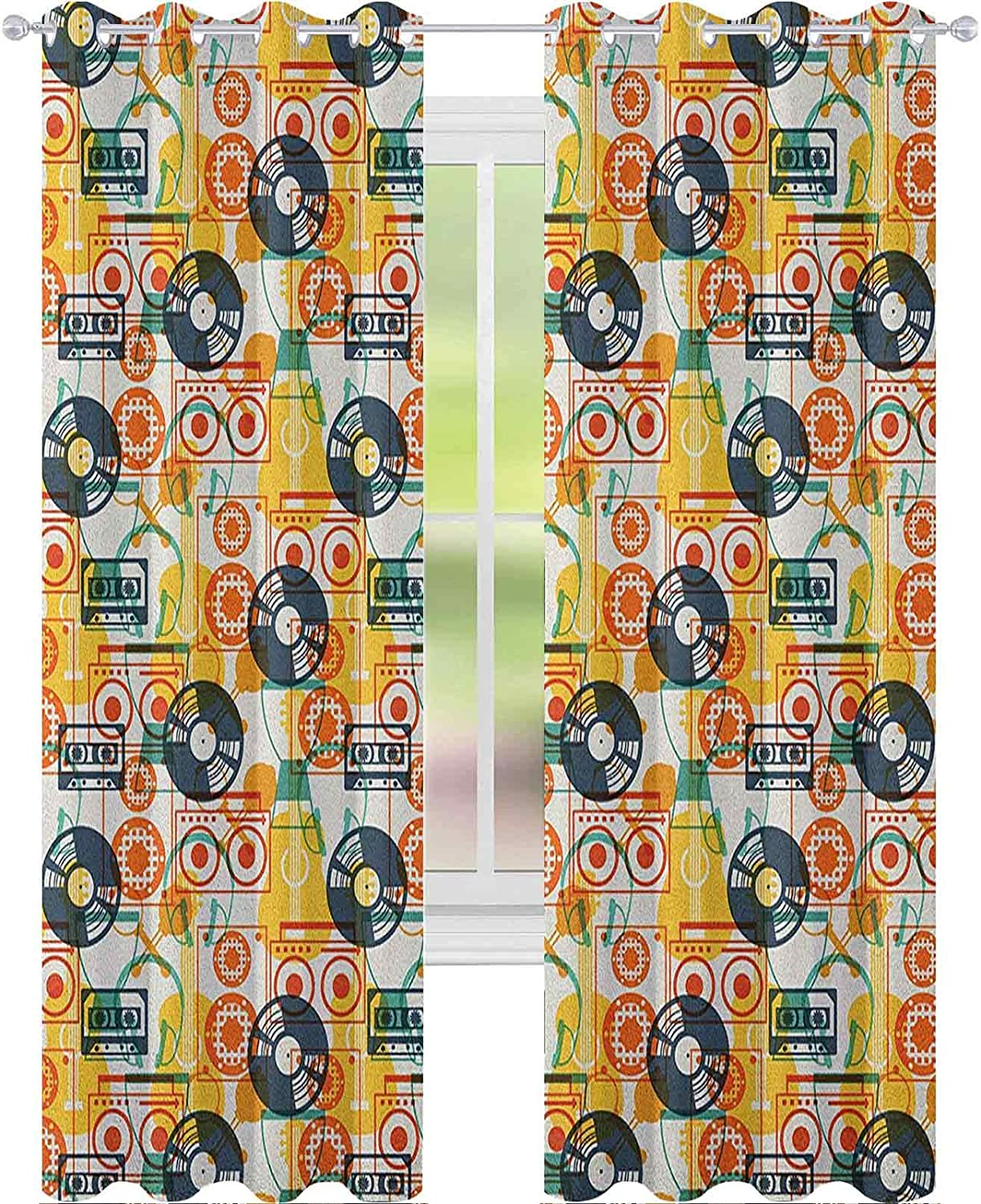 Printed Bedroom Max 80% OFF Curtain Max 69% OFF Pattern with Flat Instruments in Musical