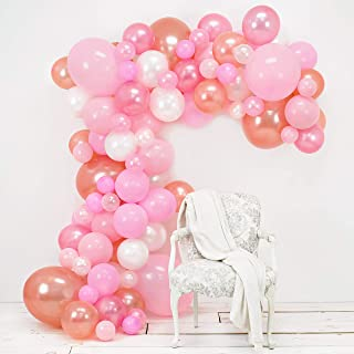 Junibel Balloon Arch & Garland Kit | Pink, Blush, Rose Gold & White Sm - Xlrge balloons | Glue Dots | 17' Decorating Strip | Wedding, Baby Shower, Graduation, Anniversary Bachelorette Party Decoration