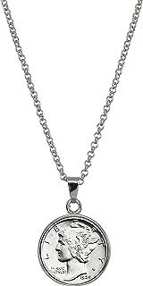 Silver Mercury Dime Silvertone Coin Pendant with 18