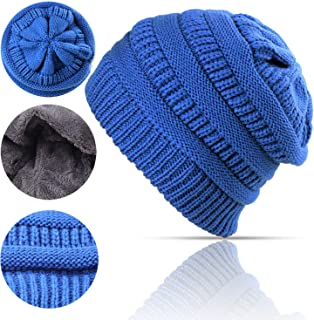 Lobeve Cable Knit Beanie Winter Warm Fleeced Fuzzy Lined Skull Hat for Womens Mens