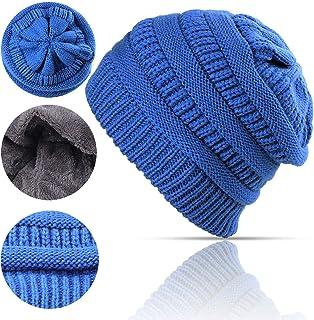Lobeve Cable Knit Beanie Winter WarmFleeced Fuzzy Lined Skull Hatfor Womens Mens