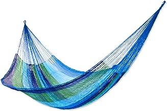 NOVICA Green Aqua Blue Striped Nylon Hand Woven Mayan Rope 2 Person XL Hammock, Sea Breeze' (Double)