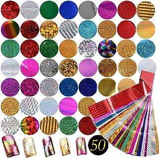 50 Diseños Pegatina Calcomanías Uñas Nail Art Stickers Transferencia Foils Transfer Cielo Estrellado Herramienta PARA Decoración de Uñas Manicura DIY