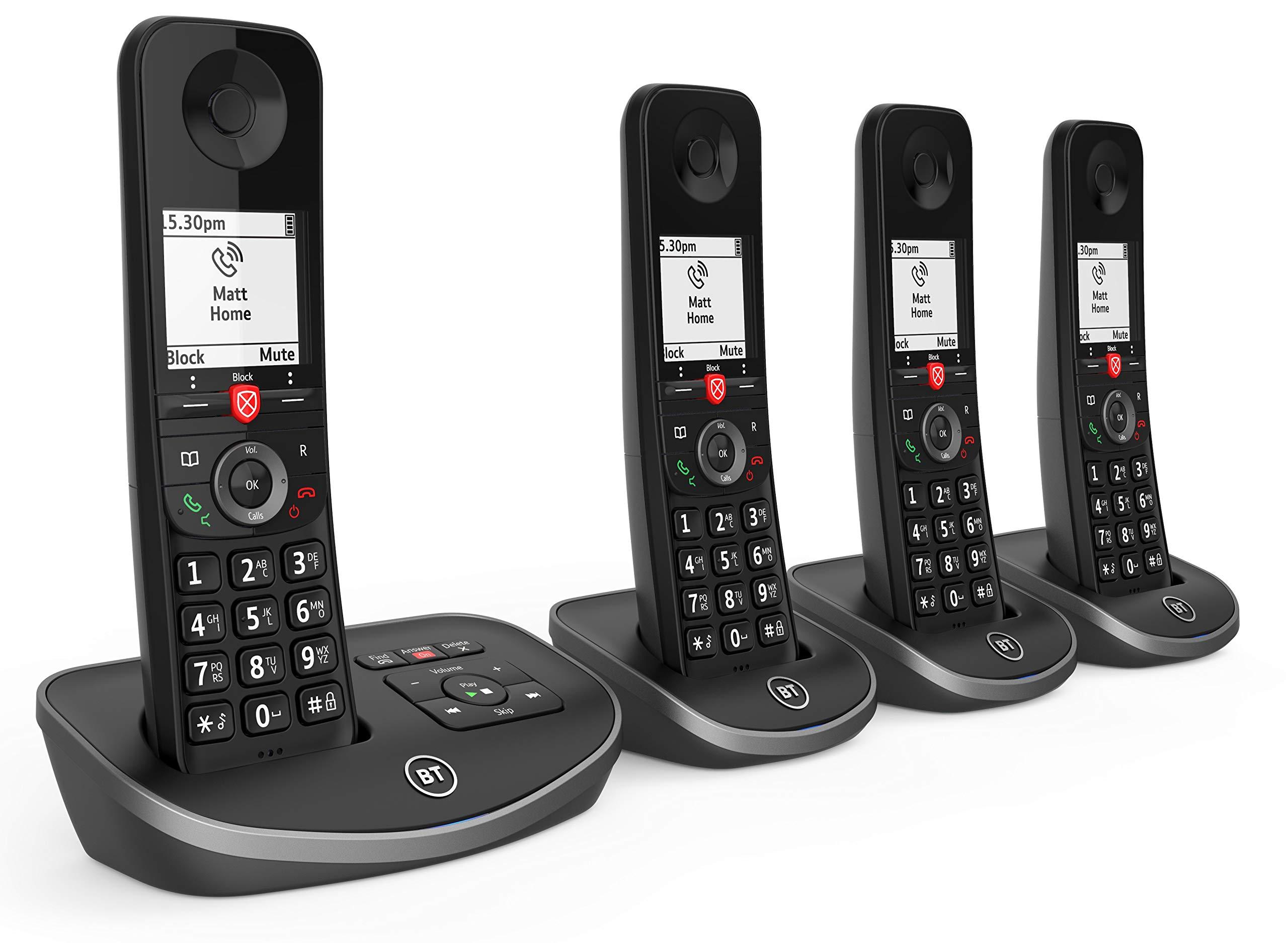 BT Avanzada inalámbrico Teléfono de la casa con un 100% de Llamadas molestas Bloqueo y un contestador automático, teléfono de cuádruple Paquete: Amazon.es: Electrónica