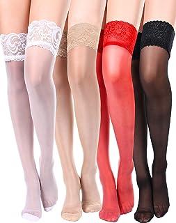 Boao 4 Paar Damen Oberschenkel Hohe Strumpf Silikon Spitze Top Strümpfe Seidige Strumpfhose für Damen Mädchen