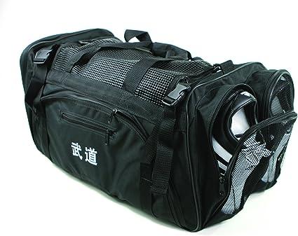 "Martial Arts, Bag with Mesh Top/pocket 13""x27""x14"" Boxing, MMA,Taekwondo Deluxe Equipment Bag, Black"