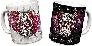 Sweet Gisele | 2 Mug Set | Sugar Skull Ceramic Mugs | Floral Print Coffee Cups | Day of the Dead Design | Beautiful Vivid Colors | Great Novelty Gift | 11 Fl. Oz (Black & White)