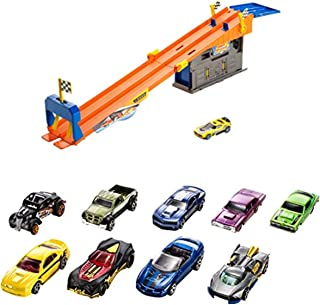 Island Time Brands Bundle Includes 2 Items - Hot Wheels Rooftop Race Garage Playset and Hot Wheels 9-Car Gift Pack (Styles May Vary)