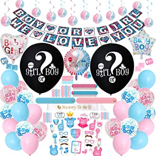 Gender Reveal Party Supplies - (300 PCS) Gender Reveal Party Decorations, 36 Inch Reveal Balloon, Baby Shower Decorations, Foil Balloons and Boy Or Girl Balloons, Boy or Girl Banner, Mummy To Be Sash, Cake Topper Much More