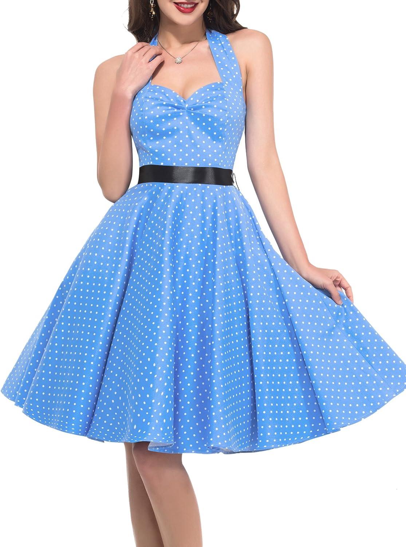 GRACE KARIN Women Vintage Polka Dots Cotton Halter VNeck Party Swing Dress