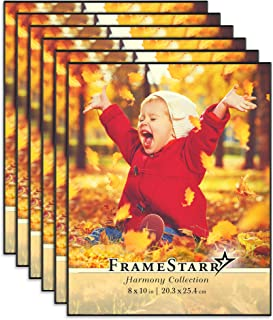 FrameStarr 8x10 Picture Frame Set, Front Loading Contemporary Modern Style, Tabletop or Wall Mount, Harmony Collection (Black, 6 Pack)