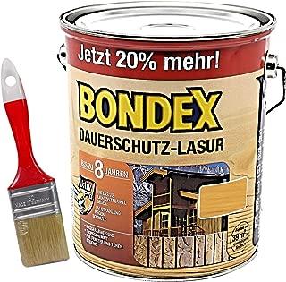 Bondex Dauerschutzlasur 3L mit Pinsel kiefer Gelartige Lösemittelhaltige Tropfgehemmte Lasur zum Hochwertigen und Dauerhaften Holzschutz außen
