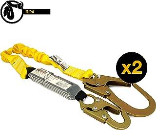 KwikSafety (Charlotte, NC) BOA 2 PACK (External Shock Absorber) Single Leg 6ft Safety Lanyard OSHA ANSI Fall Protection Restraint Equipment Snap Rebar Hook Connectors Construction Arborist Roofing