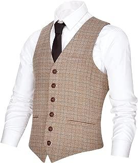 Men's V-Neck Suit Vest Casual Slim Fit Dress 6 Button Vest Waistcoat