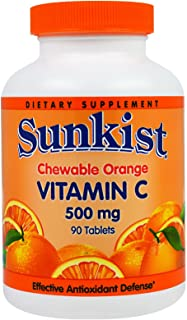 Sunkist Vitamin C 500 mg Tablets Chewable Orange 90 Tablets