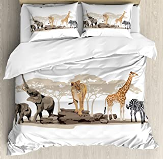 Ambesonne Safari Duvet Cover Set Queen Size, Illustration of Wild Savannahs African Animals Exotic Giraffe Lion Elephant Zebra, Decorative 3 Piece Bedding Set with 2 Pillow Shams, Multicolor