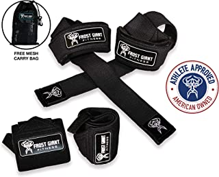 Wrist Wraps + Lifting Straps Combo Set w/Carry Bag |...