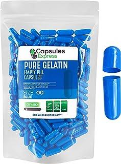 Capsules Express- Size 00 Blue Empty Gelatin Capsules - Kosher Certified - Gluten-Free Pure Gelatin Pill Capsule - DIY Pow...