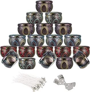 20 PCS Candle Containers with Lids, Metal Candle Tin Jars with 50 pcs Cotton Candle Wicks and 2 pcs Metal Wick Holder for ...