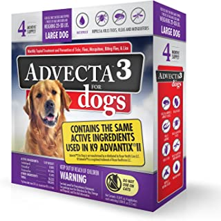 Advecta 3 For Dogs - Large - Flea & Tick Topical Treatment - 4 Count (4 Months' Supply)