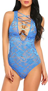Avidlove Women Deep V Lingerie Laceup Bodysuit Lace Teddy One Piece Babydoll