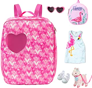 Ecore Fun 18 Inch Girl Doll Accessories with Doll Carrier Bag + Skirt + White Cloth Shoes + Doll Backpack + Doll Sunglasse...